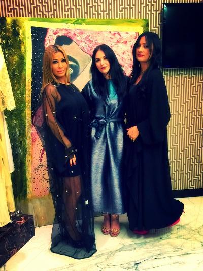 model, Lara Tabet with Hessa Al Falasi at hfboutique with suzi f nassif ar event and exhibitions in Dubai-SuziNassif